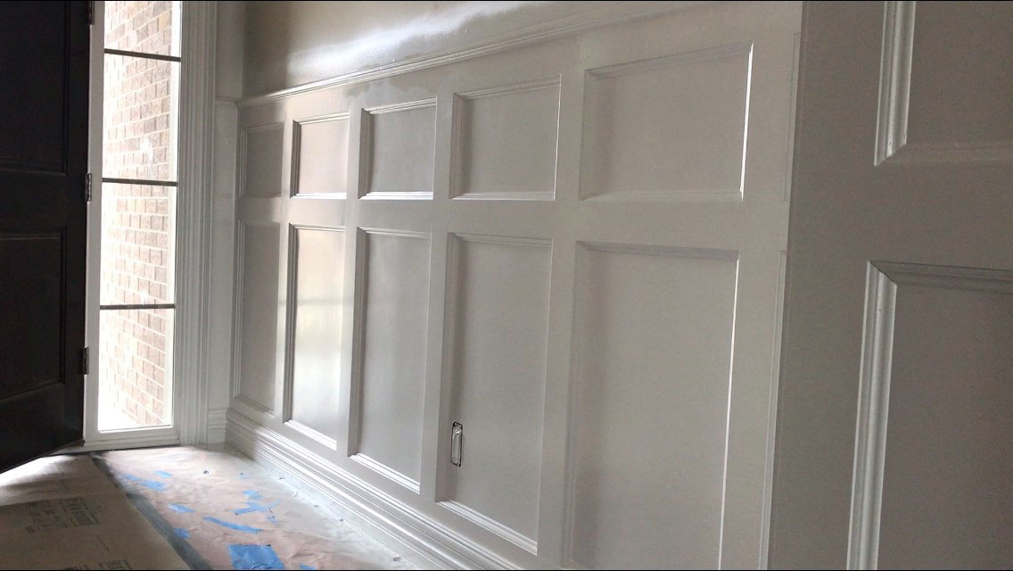 close up of wainscoting in foyer